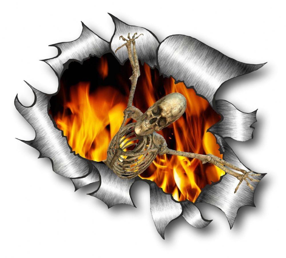 Car sticker design fire - Ripped Torn Metal Design With Skeleton On Fire Motif External Vinyl Car Sticker 105x130mm